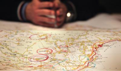 Cartina con alcune località cerchiate in rosso