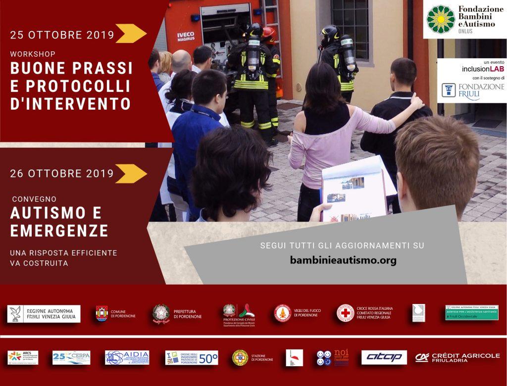locandina convegno Autismo e emergenze e Workshop Buone prassi e protocolli d'intervento per sicurezza inclusiva