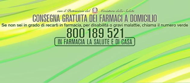 farmacie numero verde 800 189 521 consegna farmaci a domicilio