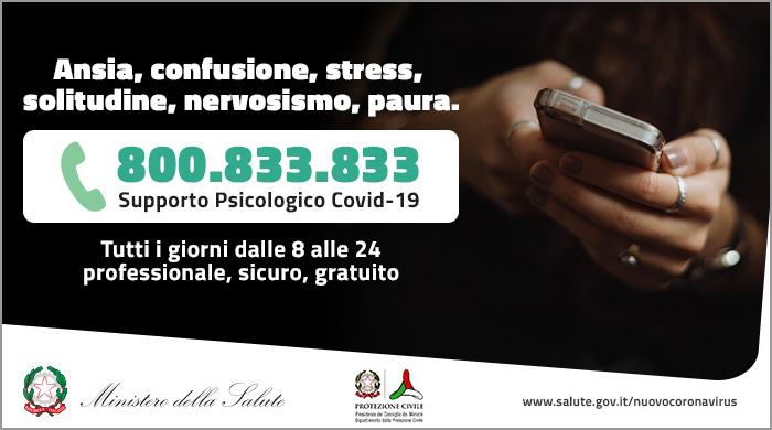 numero verde 800 833 833 Ministero della Salute e Protezione Civile
