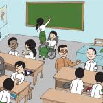 aula di scuola con alunni di cui uno in carrozzina per scuola inclusiva