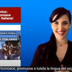 una interprete lis per il riconoscimento della Lingua dei Segni Italiana