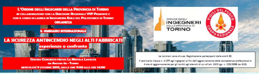 """locandina Convegno Torino """"La sicurezza antincendio negli alti fabbricati. Esperienze a confronto"""" organizzato dall'Ordine degli Ingegneri della provincia torinese"""