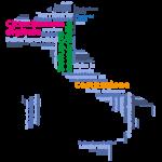 mappa italia con parole chiavi tra cui eduzione civica sviluppo sostenibile costituzione per piano scuola