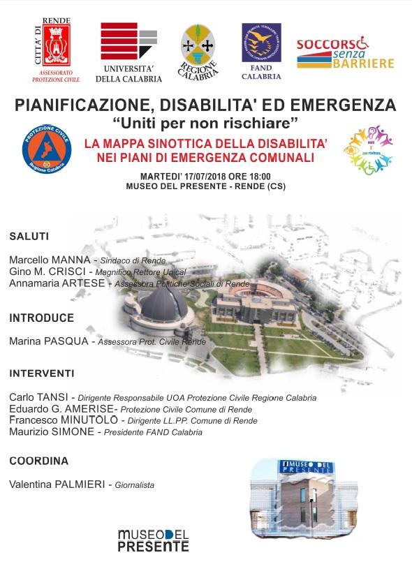 locandina convegno a rende pianificazione, disabilità emergenza e mappa sinottica delle disabilità