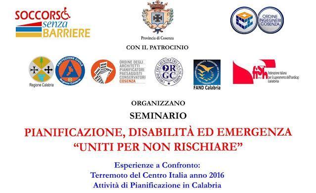 """LOCANDINA convegno Pianificazione disabilità ed emergenza """"Uniti per non rischiare"""""""